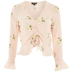 Top Shop Pink Floral Ruched Long Sleeve Top